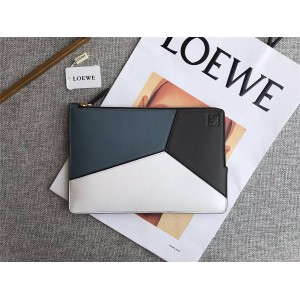 LOEWE new geometric color matching leather envelope clutch