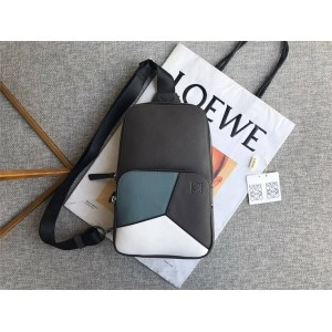 LOEWE new three color matching geometric stitching chest bag