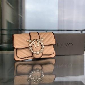 PINKO new color-blocking edging pearl buckle mini bird bag swallow bag