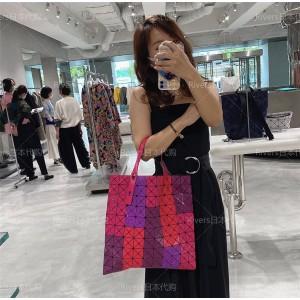 ISSEY MIYAKE frosted matte PRISM FROST 10 grid color block handbag
