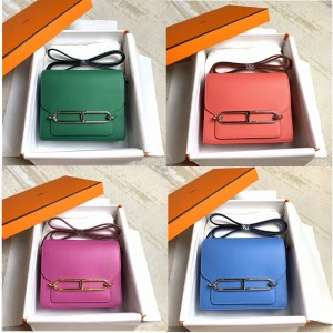 Hermes evercolor leather roulis diagonal small square bag