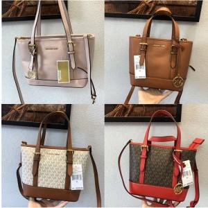 Michael Kors mk old flower and leather Jet Set Travel mini shopping bag