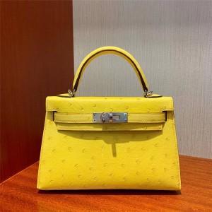 Hermes ostrich leather mini Kelly 2 generation portable messenger bag