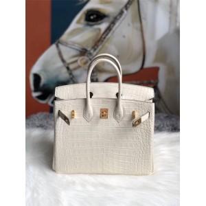 Hermes Matte American Crocodile Leather Birkin25 Handbag Cream White