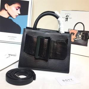 Boyy python leather stitching double handle Bobby 23 ladies handbag
