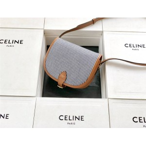Celine Folco medium pecan striped fabric and calfskin handbag