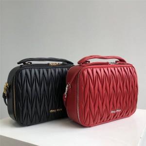 MiuMiu fold lambskin double zipper handbag camera bag 5VT003