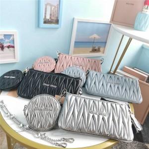 miumiu pleated sheepskin three-in-one diamond chain bag 5BH190