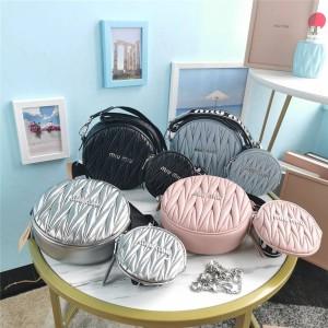 miumiu sheepskin round cake bag three in one diamond chain bag 5BH191