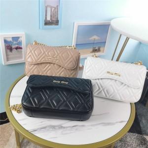 miumiu new wrinkled rhombic sheepskin chain bag 5BD140