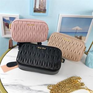 miumiu new wrinkled sheepskin chain belt bag chest bag 5BL005