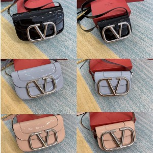 Valentino's new SuperVee patent leather organ crossbody bag