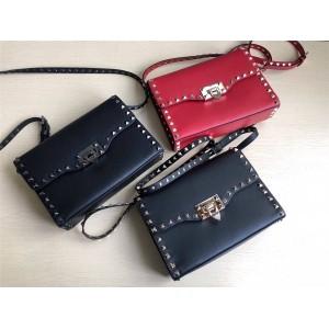 Valentino pictures ROCKSTUD plain leather studded messenger bag