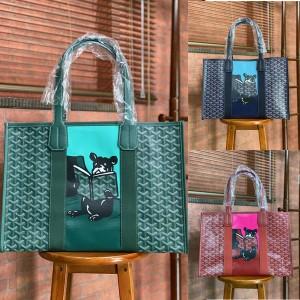 Goyard print graffiti bulldog Villette tote shopping bag