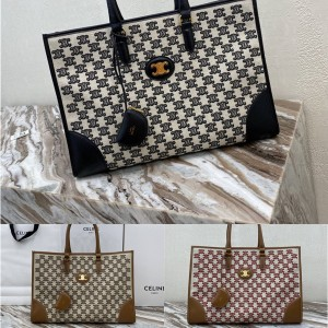 Celine CABAS TRIOMPHE Embroidered Fabric Horizontal Handbag 194342