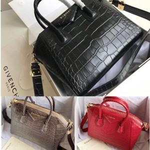 Givenchy official website crocodile pattern small Antigona tote bag handbag