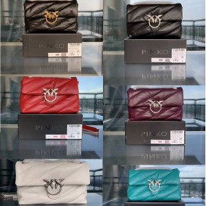 PINKO MAXI QUILT LOVE PUFF handbag in large sheepskin