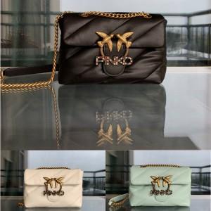 pinko LOVE PUFF sheepskin quilted chain shoulder crossbody bag