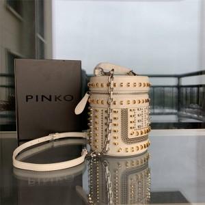 pinko new female bag rivet bucket bag cosmetic bag cylinder bag