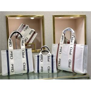chloe new Woody Tote Bag canvas shopping bag
