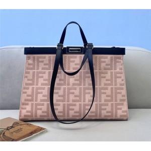 FENDI pink PEEKABOO X-TOTE canvas shopping bag 8BH374