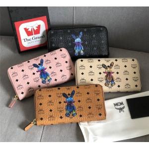 mcm rabbit print Visetos Original zipper wallet