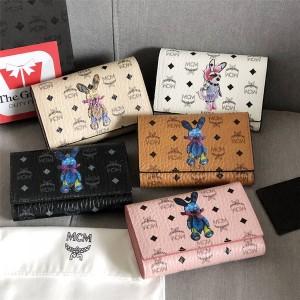 mcm ladies classic silk-printed rabbit mid-length tri-fold wallet