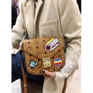 mcm badge rivet Patricia crossbody saddle bag