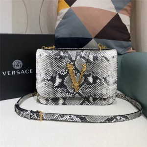 Versace official website new snakeskin leather VIRTUS shoulder bag