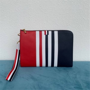 THOM BROWNE official website new colorblock striped webbing clutch