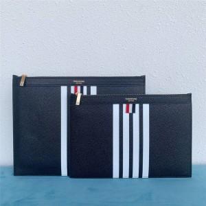 THOM BROWNE new ball pattern cowhide men's striped zipper clutch