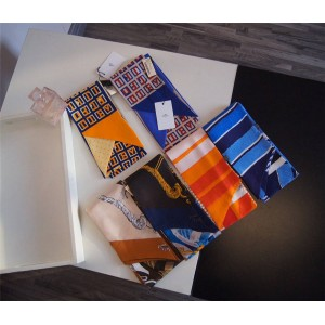 Hermes official website women's twill thin Twilly long silk scarf