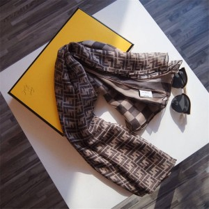 FENDI new checkerboard stitching double logo silk scarf shawl