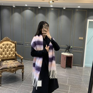 acne studio new color-blocking wool and mohair blend striped scarf