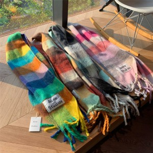 acne studio new color-blocking blended Vally multi-check fringed scarf