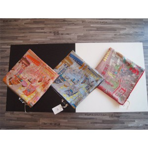 hermes Paris fantasy future city silk 140 cm square scarf
