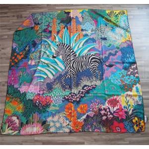 Hermes new women's silk forest zebra pattern 140 cm square scarf