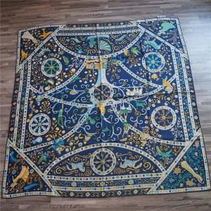 Hermes Silk Wind Children Pattern 140cm Square Scarf Shawl