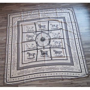 Hermes silk scarf horse drape pattern 140 cm square scarf shawl