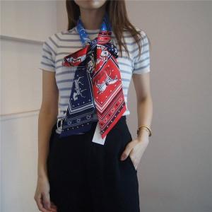 Hermes new silk horse drape H au Galop thin Twilly long silk scarf