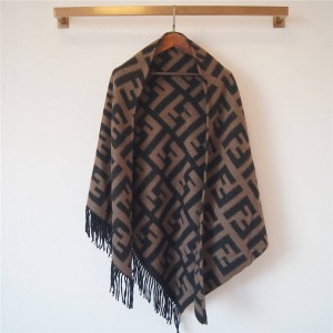 FENDI FF pattern fringed triangle cashmere shawl cloak