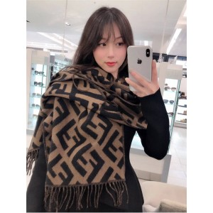 FENDI new tassel FF classic pattern cashmere scarf FXT260