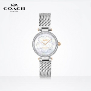 COACH PARK series mother shell dial crystal inlaid braided chain quartz watch