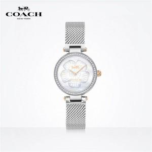 COACH PARK series mother shell dial crystal inlaid braided chain quartz watch