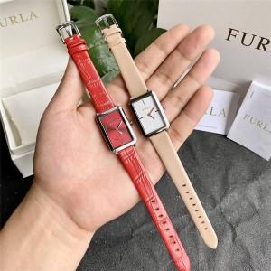 Furla elegant temperament business workplace small square quartz watch