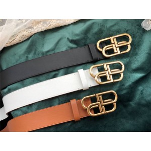 Balenciaga new leather retro hardware BB letter buckle belt