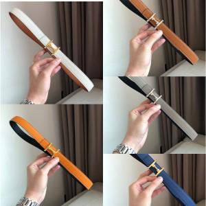 Hermes Lady's Mors H Belt Buckle & Reversible Leather Belt 24mm