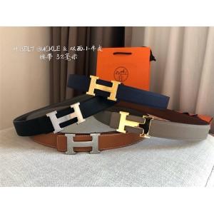 Hermes Men's Fashion H Belt Buckle & Reversible Leather Belt 32mm