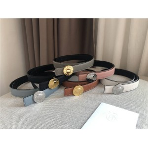 Hermes new ladies double-sided leather round buckle belt