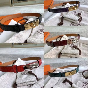 Hermes crocodile leather lady with 18mm belt with palladium-plated Kelly belt